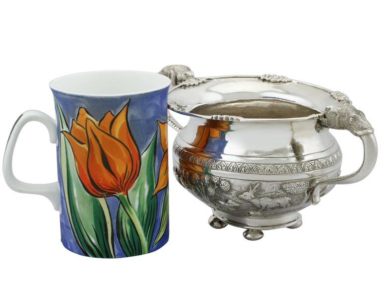 Antique Indian Silver Sugar Bowl, circa 1920 In Excellent Condition For Sale In Jesmond, Newcastle Upon Tyne