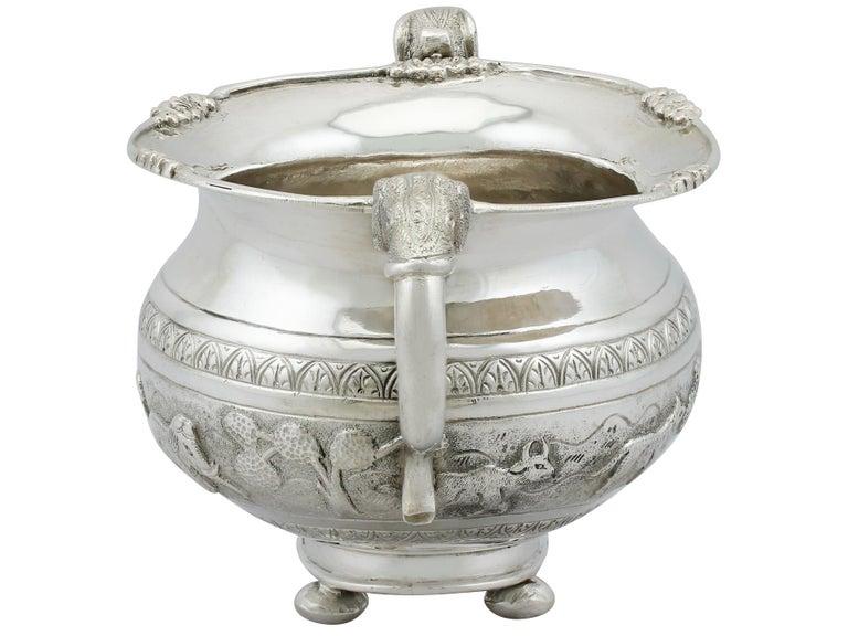 Antique Indian Silver Sugar Bowl, circa 1920 For Sale 1