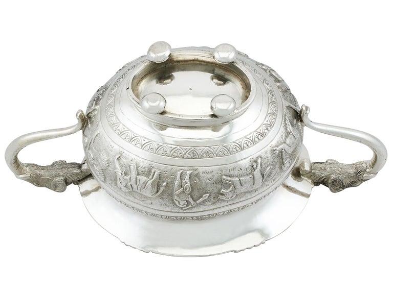 Antique Indian Silver Sugar Bowl, circa 1920 For Sale 4