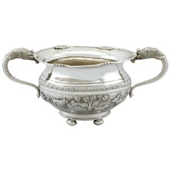 Antique Indian Silver Sugar Bowl Circa 1920