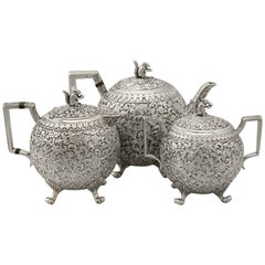 Antique Indian Silver Three Piece Tea Service by Oomersee Mawjee & Sons