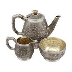 Antique Indian Silver Three Piece Tea Service, Circa 1895