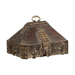 Antique Indian Treasure Box Used as Merchant's Chest with Flaming Iron Decor