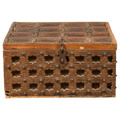 Antique Indian Treasure Chest with Paneled Top, Pierced Stars and Iron Hardware