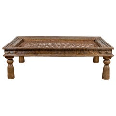 Antique Indian Window Grate Made into a Coffee Table with Metal Sheathing
