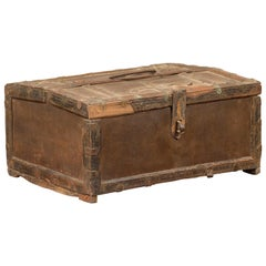 Antique Indian Wooden Cash Box from the 19th Century with Iron Hardware