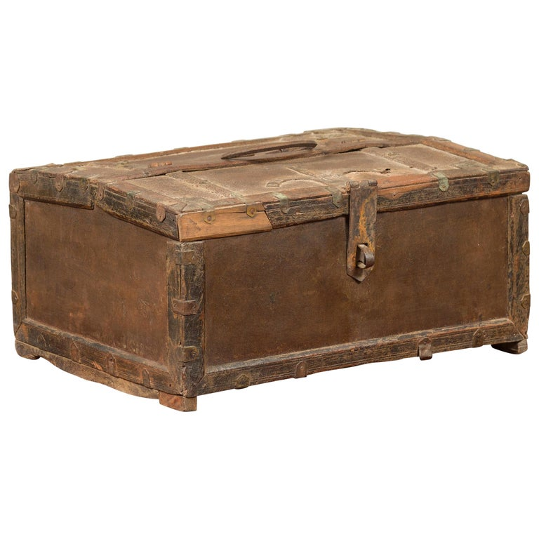 Antique Indian Wooden Cash Box from the 19th Century with Iron Hardware For Sale