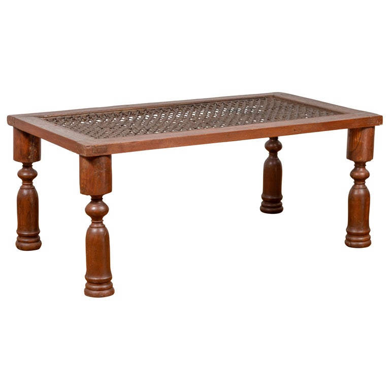 Peachy Antique Indian Wooden Coffee Table With Window Grate And Turned Baluster Legs Inzonedesignstudio Interior Chair Design Inzonedesignstudiocom