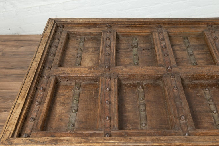 Antique Indian Wooden Palace Door Made into a Coffee Table with Iron Braces For Sale 5