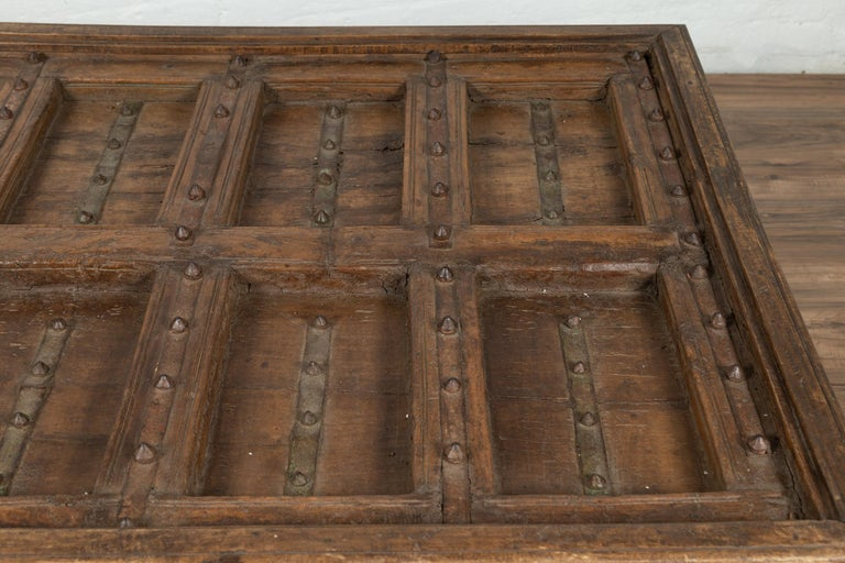 Antique Indian Wooden Palace Door Made into a Coffee Table with Iron Braces For Sale 2