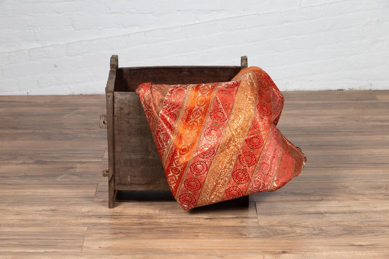 Rustic Antique Indian Wooden Planter Box with Weathered Patina and Protruding Accents For Sale