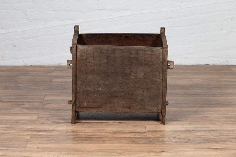 Antique Indian Wooden Planter Box with Weathered Patina and Protruding Accents In Distressed Condition For Sale In Yonkers, NY