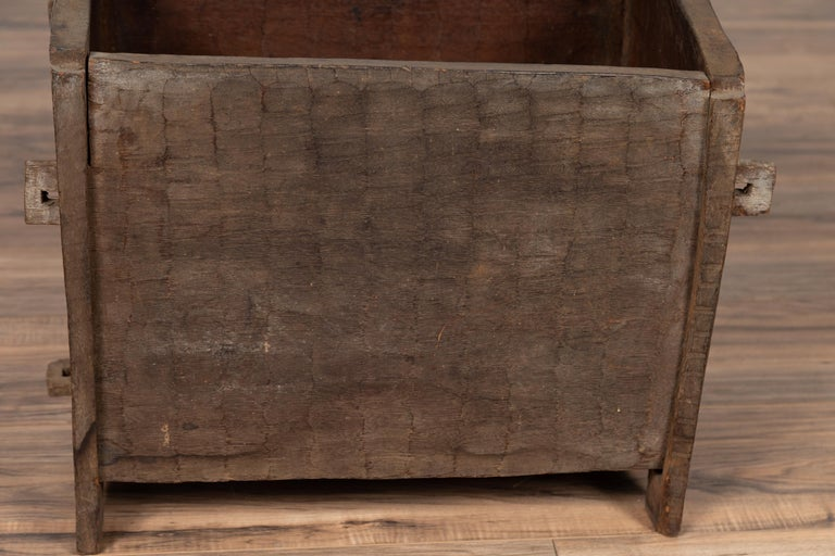 20th Century Antique Indian Wooden Planter Box with Weathered Patina and Protruding Accents For Sale