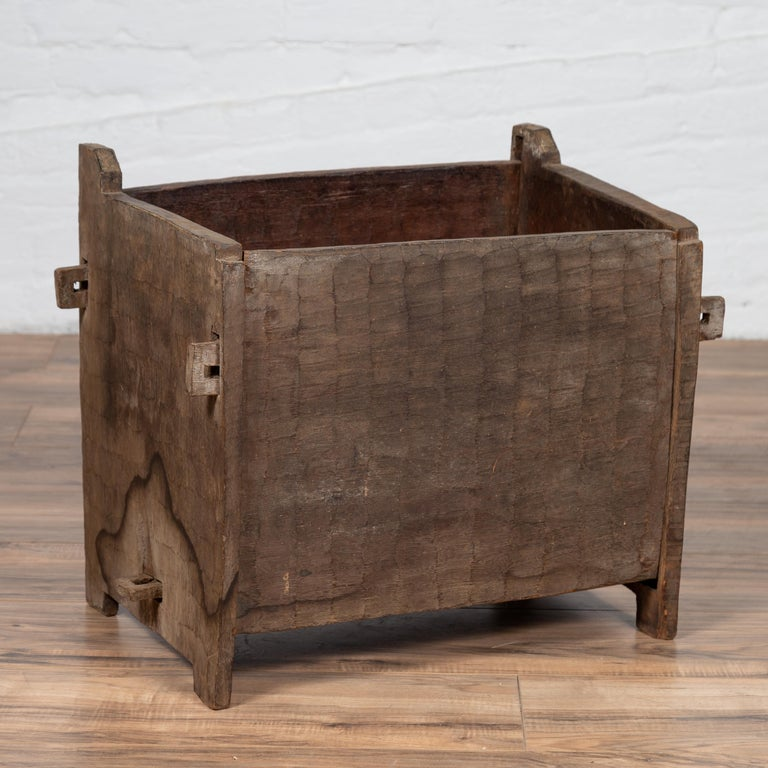 Antique Indian Wooden Planter Box with Weathered Patina and Protruding Accents For Sale 2