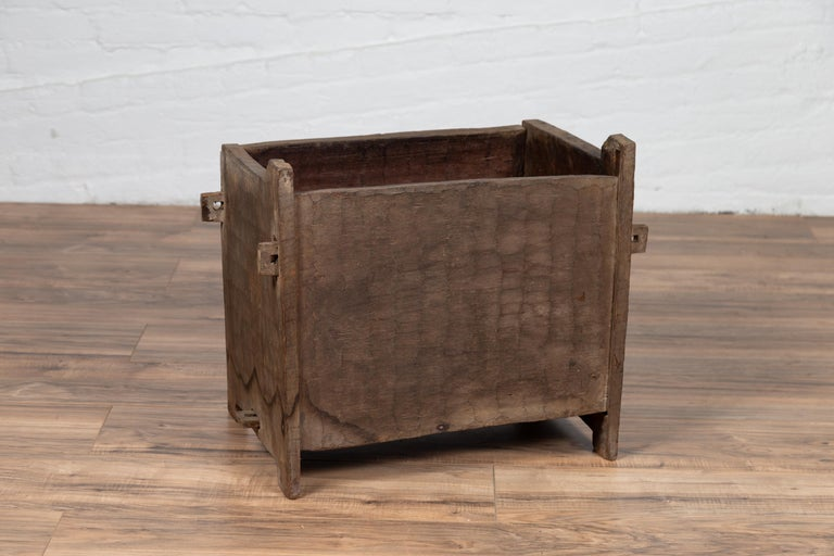 Antique Indian Wooden Planter Box with Weathered Patina and Protruding Accents For Sale 3