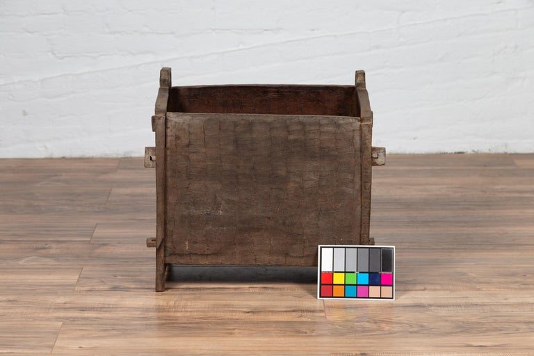 Antique Indian Wooden Planter Box with Weathered Patina and Protruding Accents For Sale 4