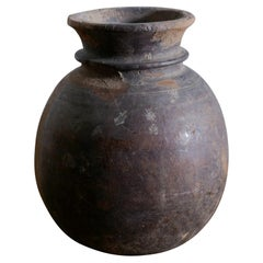 Antique Indian Wooden Pot in a Wabi Sabi Style