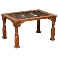 Antique Indian Wooden Side Table with Window Grate and Turned Baluster Legs