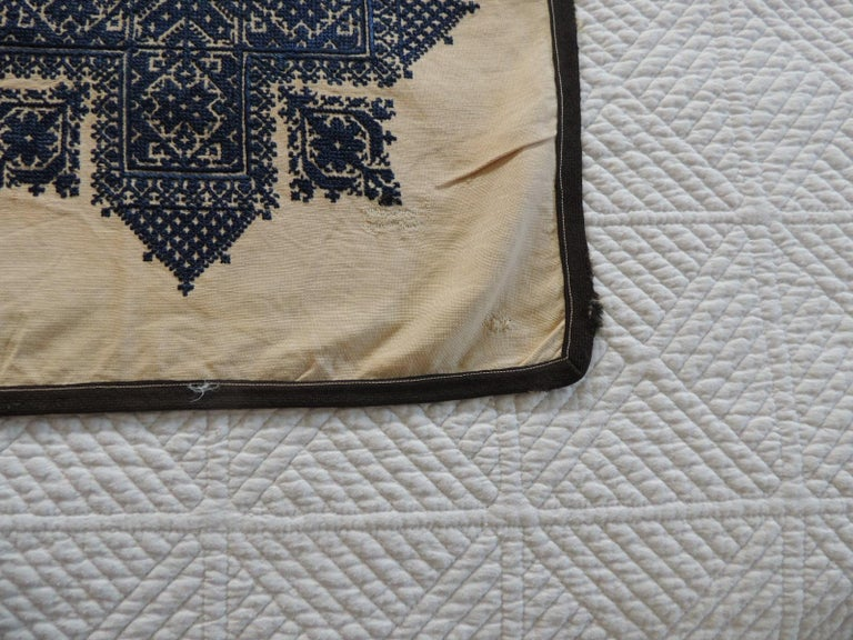 Tribal Antique Indigo and Natural Woven and Embroidered Fez Textile Fragment For Sale