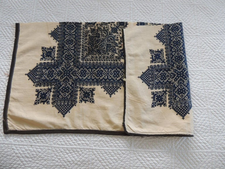 Moroccan Antique Indigo and Natural Woven and Embroidered Fez Textile Fragment For Sale