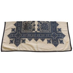 Antique Indigo and Natural Woven and Embroidered Fez Textile Fragment