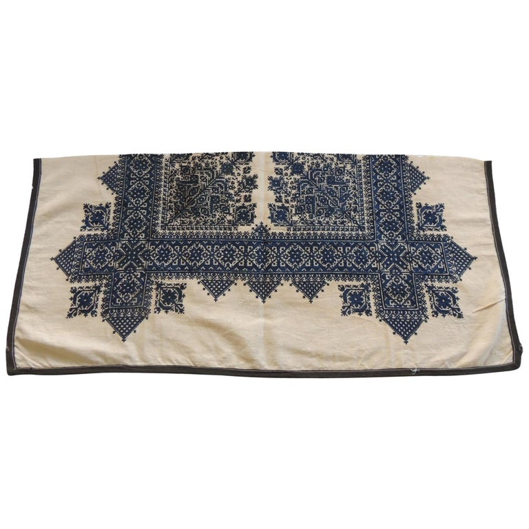 Antique Indigo and Natural Woven and Embroidered Fez Textile Fragment For Sale