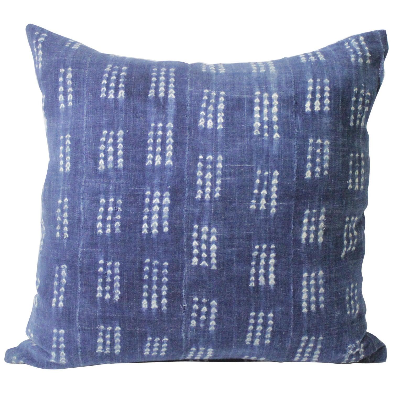 Down Filler Included Blue Batik Indigo Hmong Textile Linen Lumbar Pillow Bohemian Zipper Rectangle Pillow Boho Linen Decorative Pillow