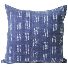 Antique Indigo Blue and White Batik Accent Pillow