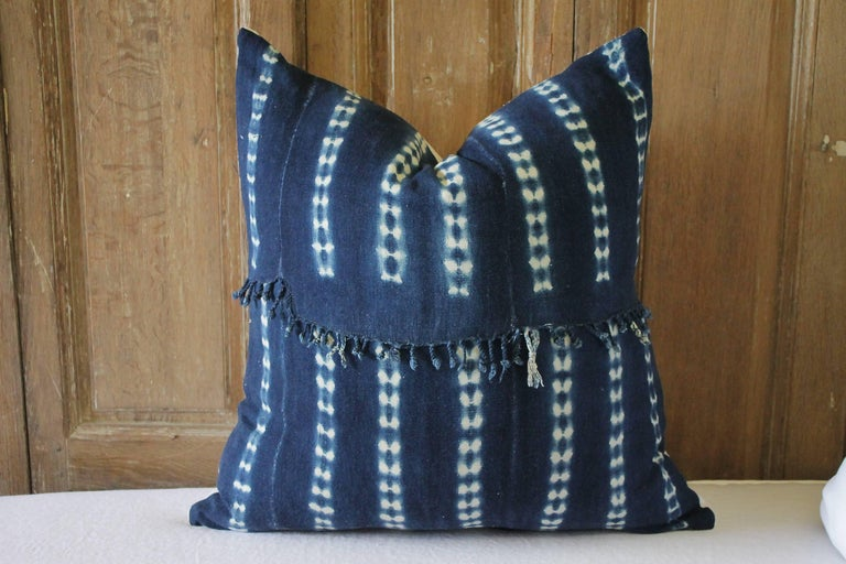 Antique indigo blue Batik accent pillows with fringe. Custom-made by Full Bloom Cottage, the fronts of the pillows are in an antique Batik fabric with original fringe edge we salvaged from the throw, very soft and nubby, the backside are finished