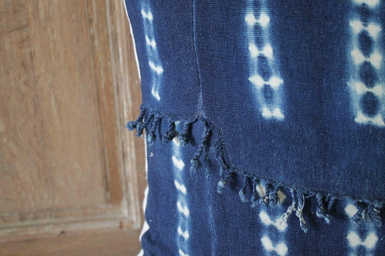 Antique Indigo Blue Batik Accent Pillows with Fringe In Good Condition For Sale In Brea, CA