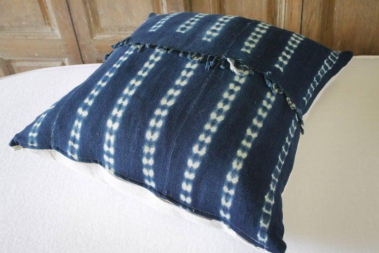 Linen Antique Indigo Blue Batik Accent Pillows with Fringe For Sale