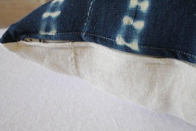 Antique Indigo Blue Batik Accent Pillows with Fringe For Sale 1