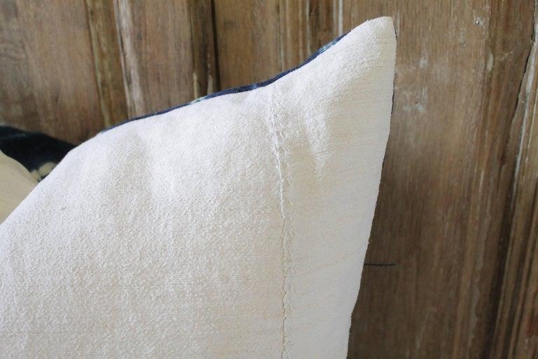 Antique Indigo Blue Batik Accent Pillows with Fringe For Sale 2