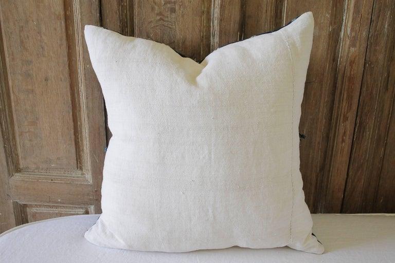 Antique Indigo Blue Batik Accent Pillows with Fringe For Sale 3