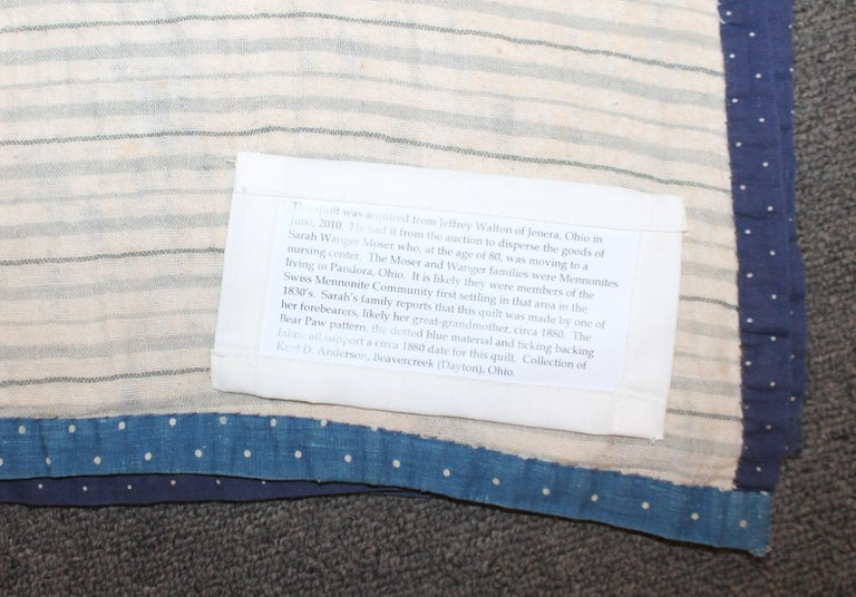 Antique Indigo Blue Quilt in Bear Paw Pattern For Sale 2