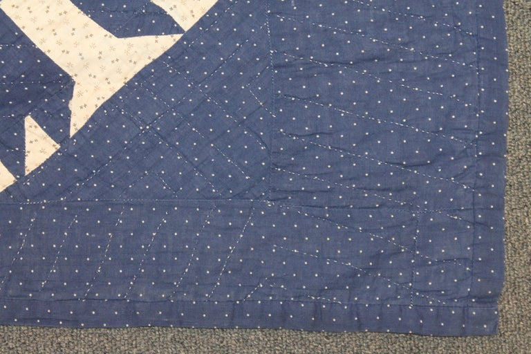 Hand-Crafted Antique Indigo Blue Quilt in Bear Paw Pattern For Sale