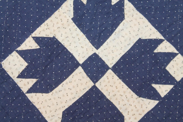 19th Century Antique Indigo Blue Quilt in Bear Paw Pattern For Sale