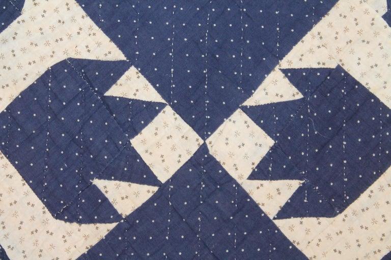 Cotton Antique Indigo Blue Quilt in Bear Paw Pattern For Sale