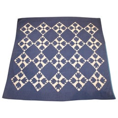 Antique Indigo Blue Quilt in Bear Paw Pattern