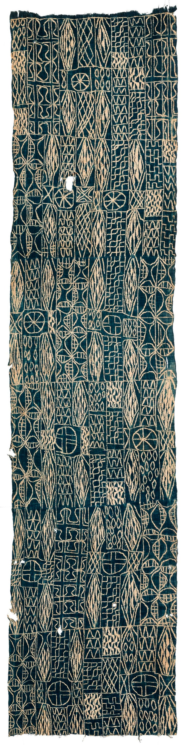 A beautiful Indigo dyed ceremonial textile from Cameroon. It would make a great wall hanging. A great example. Measures: 3'2'' x 14'1''.