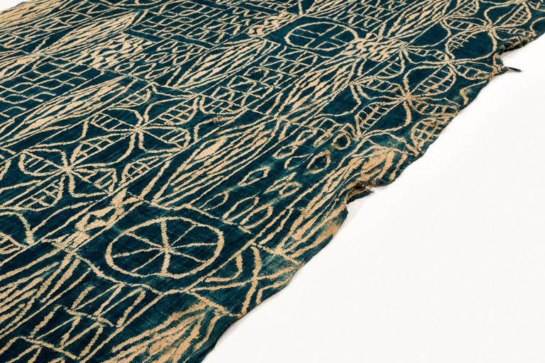 Antique Indigo Dyed Textile/Wall Hanging from Cameroon, Africa For Sale 1