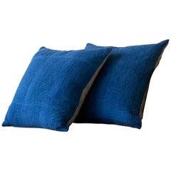 Antique Indigo Kantha Quilt Pillow