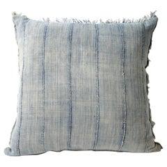 Antique Indigo Stripe African Mud-cloth Pillow with Original Fringe