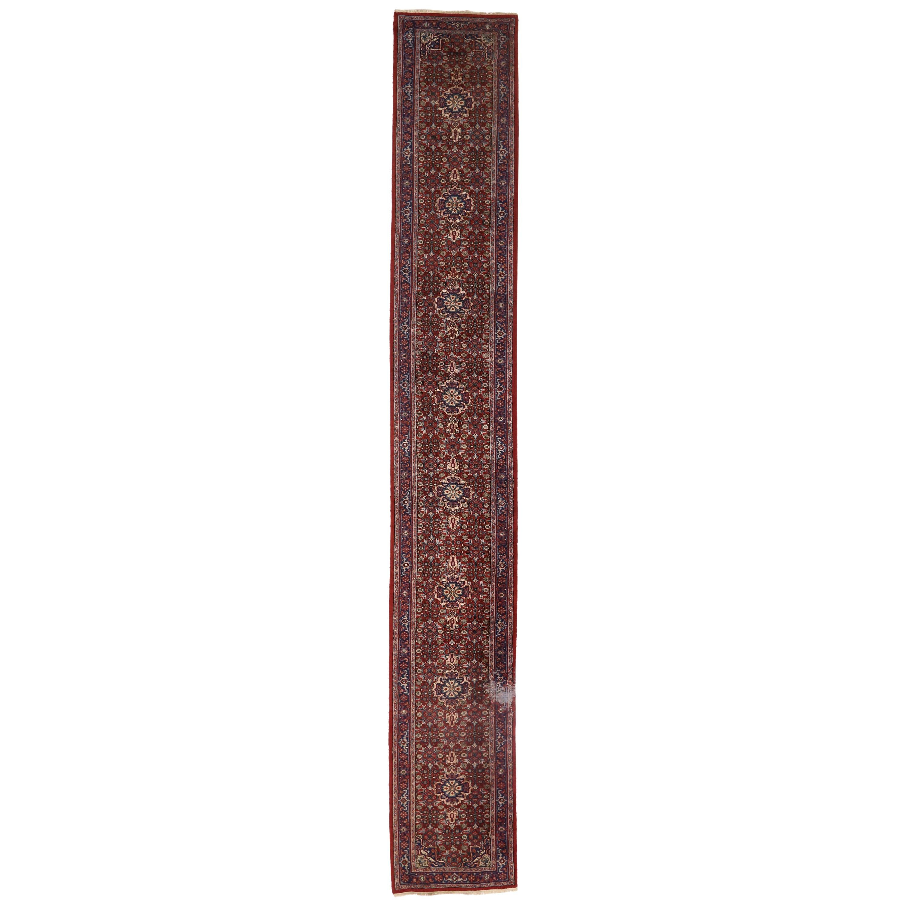 Antique Indo-Persian Bijar Style Runner with Victorian Style, Hallway Runner