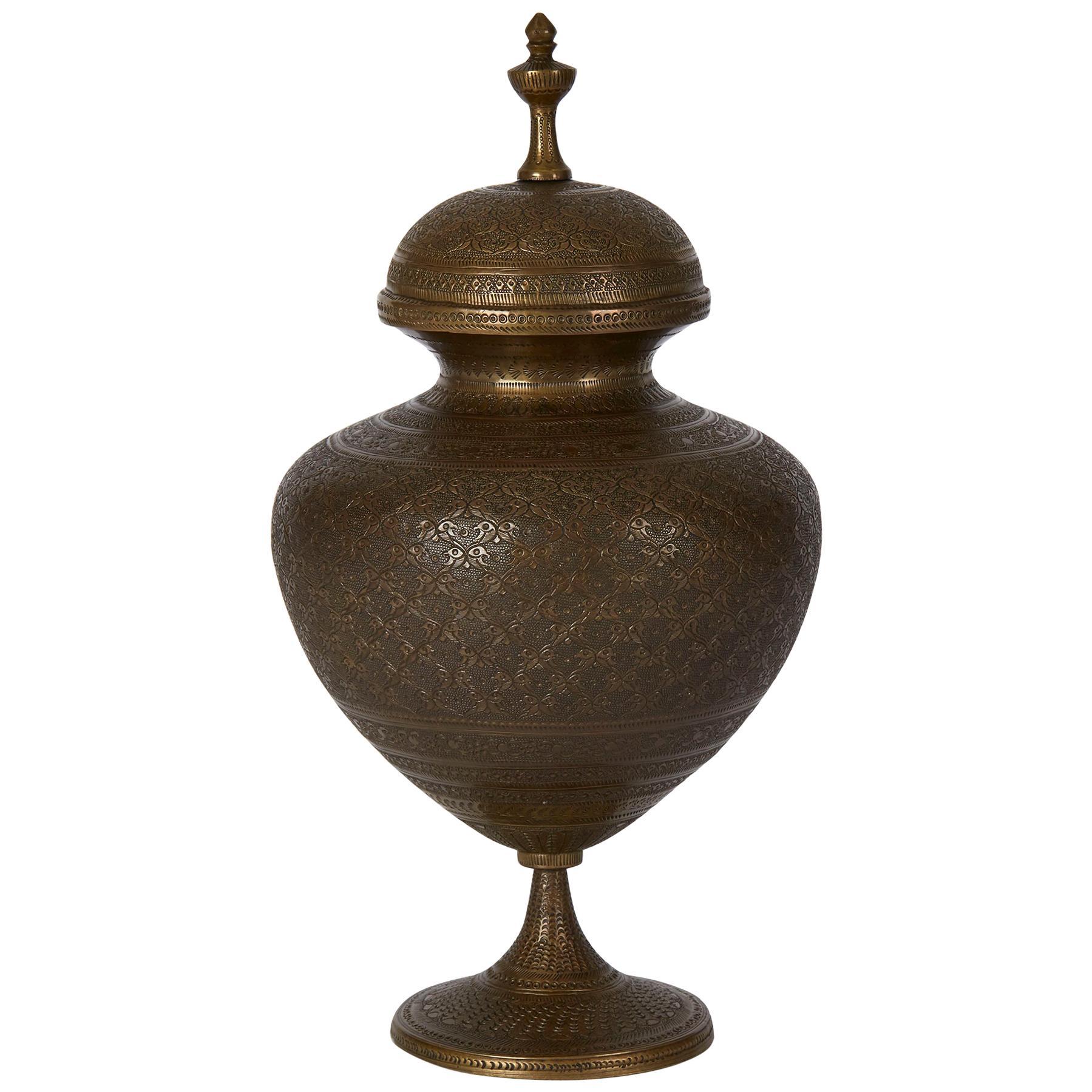 Antique Indo Persian Bronze Lidded Pedestal Vase, 19th Century