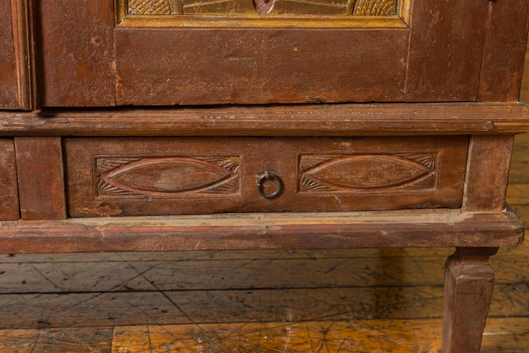 Antique Indonesian Cabinet with Carved Almond Style and Sun Ray Motifs For Sale 3