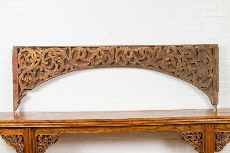 Antique Indonesian Carved and Painted Architectural Panel with Rinceaux Frieze In Good Condition For Sale In Yonkers, NY