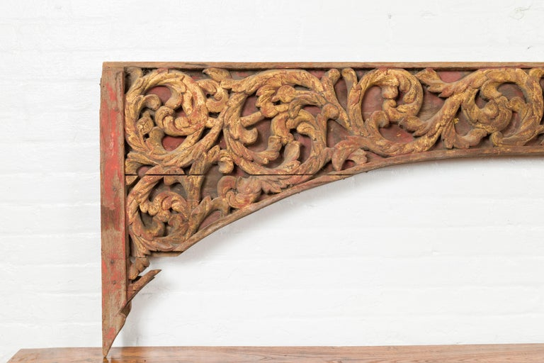19th Century Antique Indonesian Carved and Painted Architectural Panel with Rinceaux Frieze For Sale
