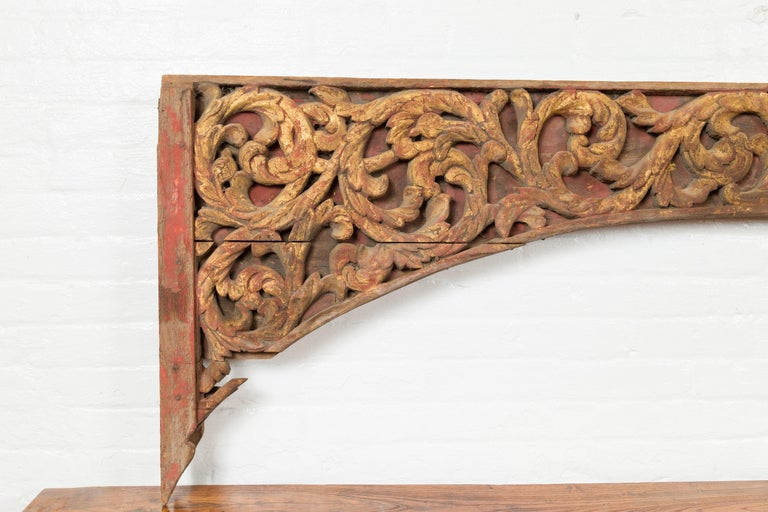 Antique Indonesian Carved and Painted Architectural Panel with Rinceaux Frieze For Sale 2