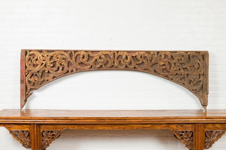 Antique Indonesian Carved and Painted Architectural Panel with Rinceaux Frieze For Sale 3